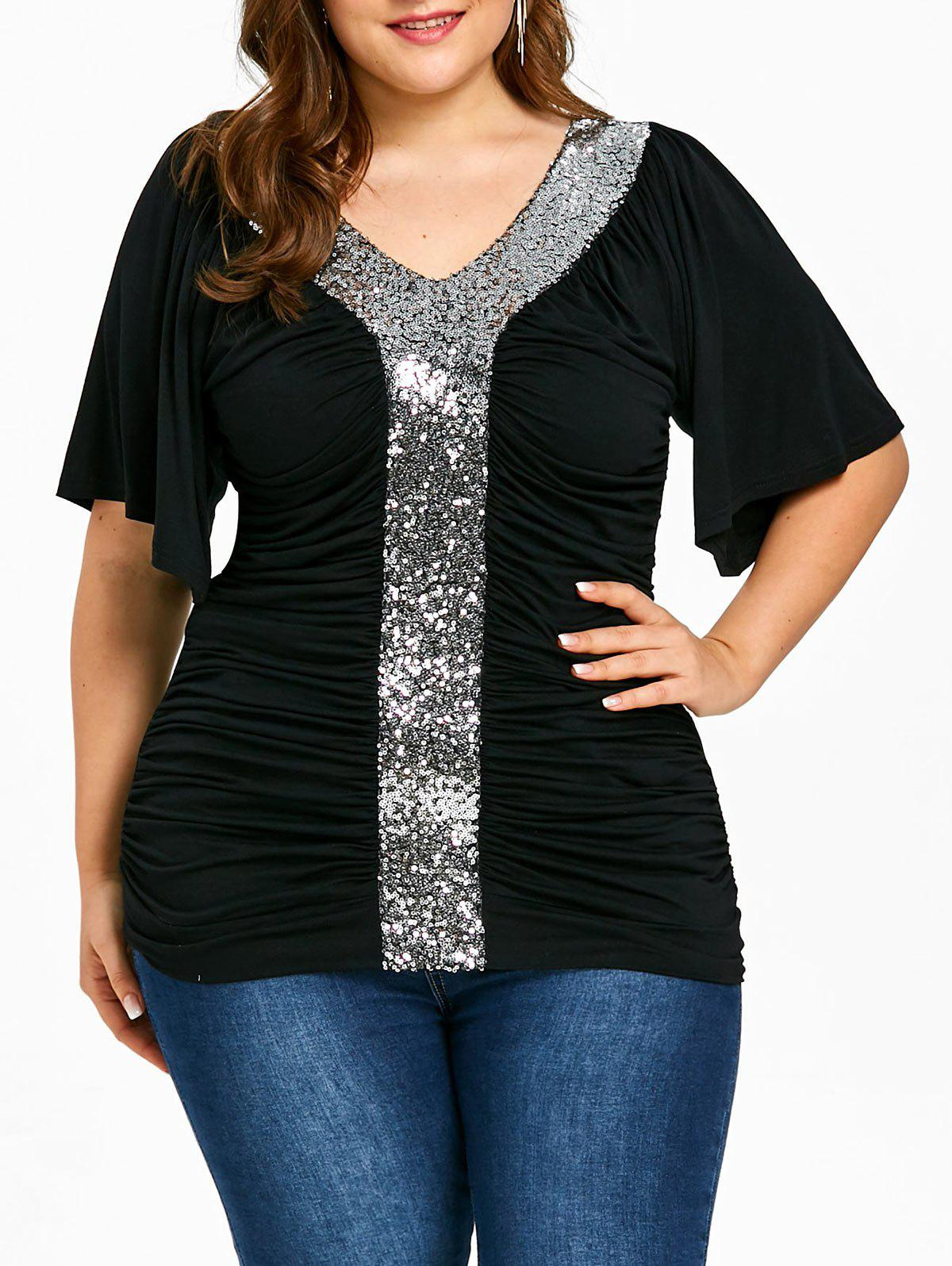 Best Plus Size Sequined Sparkly Ruched T-shirt
