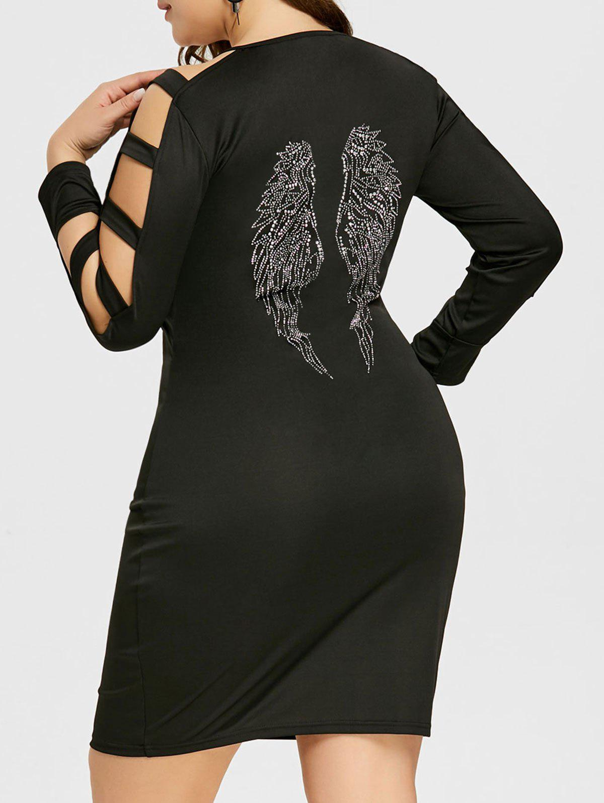 Hot Plus Size Ladder Cut Sequined Embellished Sheath Dress