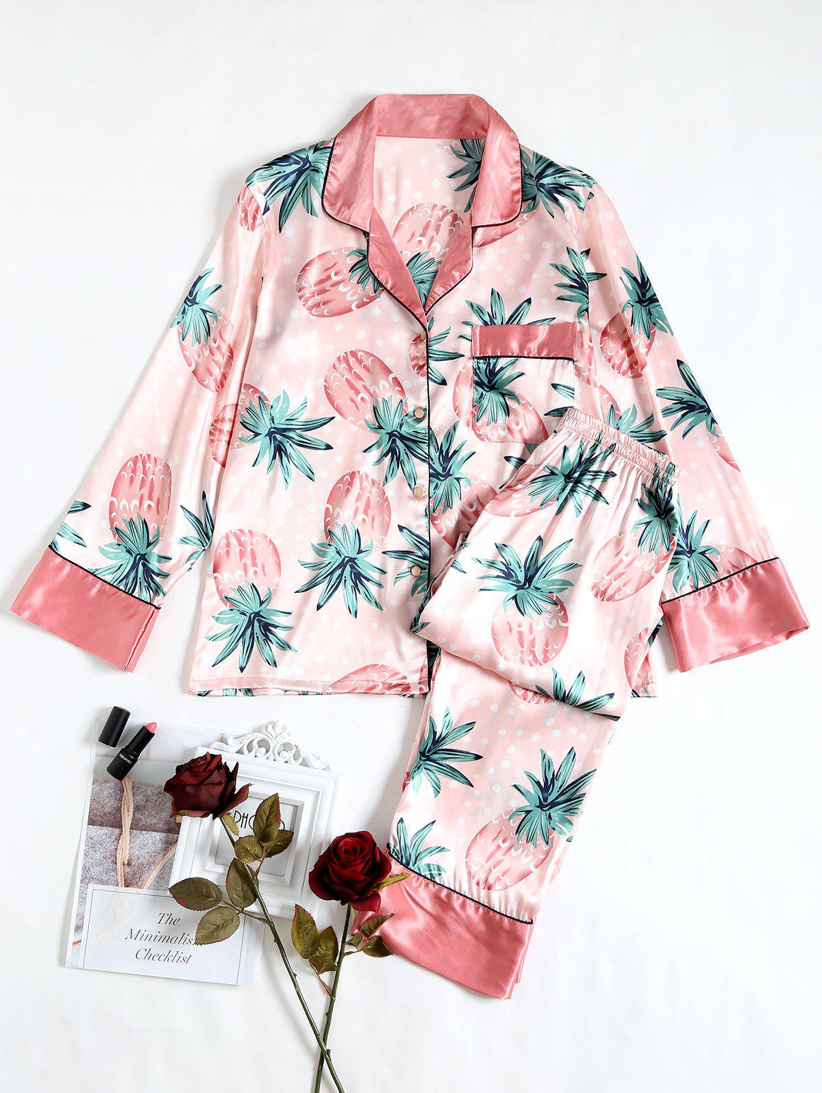 Ensemble Pyjamas Satin Imprimé Ananas