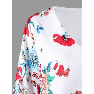 Flower Print Flare Sleeve Blouse -