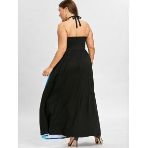 Plus Size Halter Neck Empire Waist Maxi Dress -