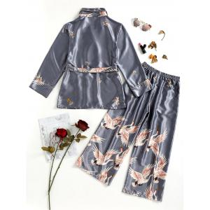 Satin Short Robe and Pajamas Pants -