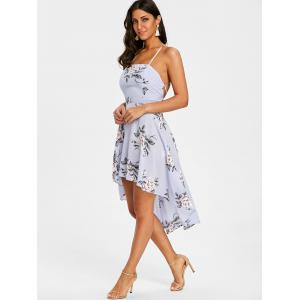 Spaghetti Strap High Low Floral Dress -
