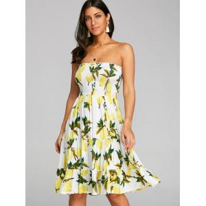 Lemon Printed Bandeau Dress -
