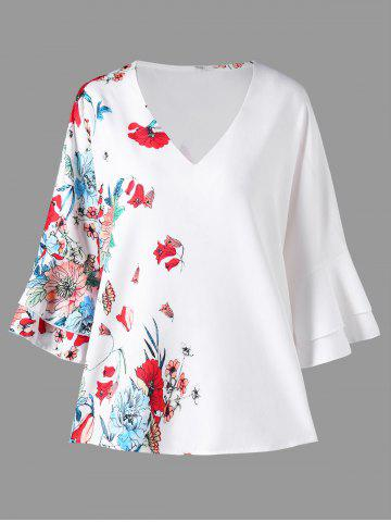 Affordable Flower Print Flare Sleeve Blouse