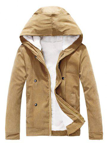 Fancy Plush Inside Snap Button Zip Up Hooded Coat For Men