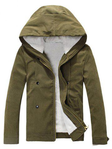 Store Plush Inside Snap Button Zip Up Hooded Coat For Men