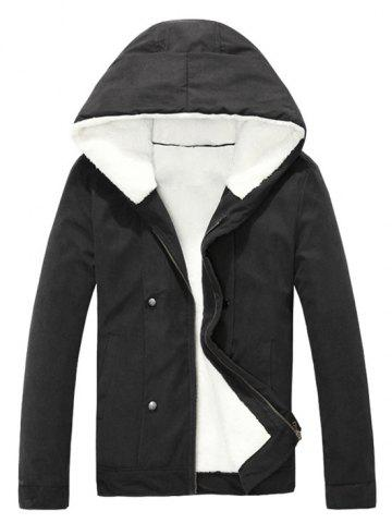 Shop Plush Inside Snap Button Zip Up Hooded Coat For Men