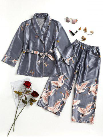 Sale Satin Short Robe and Pajamas Pants