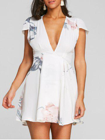 Online Floral Printed Plunging Dress