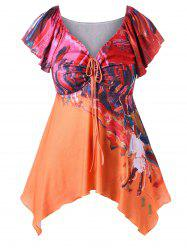 Plus Size Butterfly Sleeve Oil Painting T-shirt -