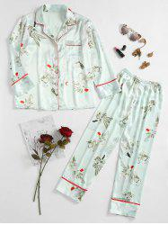 Floral Printed Satin Sleepwear Set -