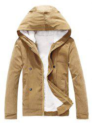 Plush Inside Snap Button Zip Up Hooded Coat For Men -