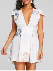 Floral Printed Plunging Dress -