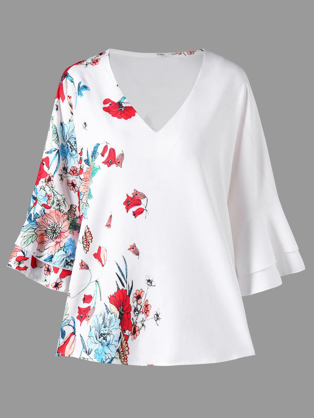 Fashion Flower Print Flare Sleeve Blouse