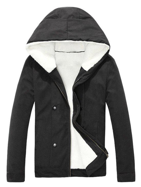 Hot Plush Inside Snap Button Zip Up Hooded Coat For Men
