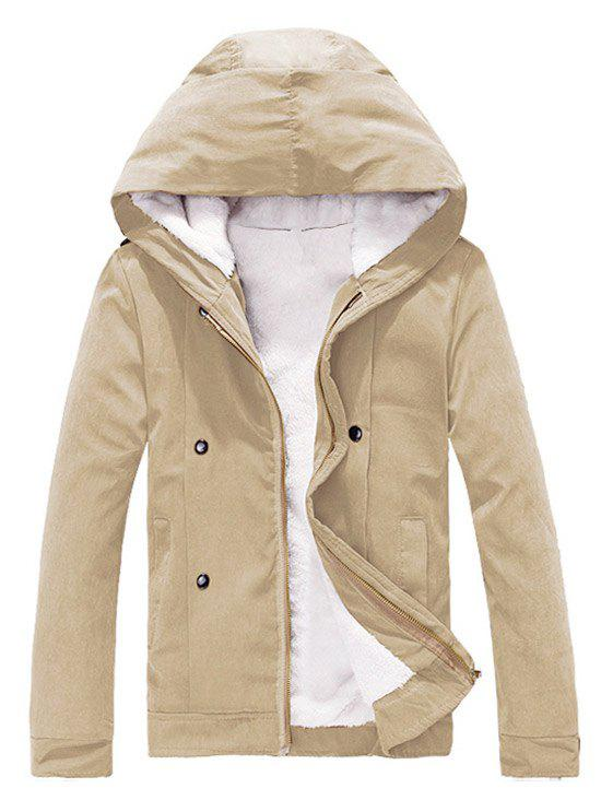 Sale Plush Inside Snap Button Zip Up Hooded Coat For Men