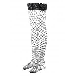 Lace Top Thigh High Fishnet Stockings -
