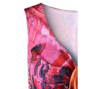 Ruched Flared Abstract Print Tank Top -