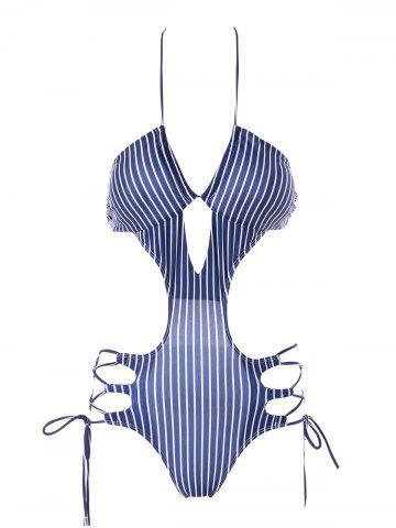Affordable Cut Out Striped One Piece Swimwear