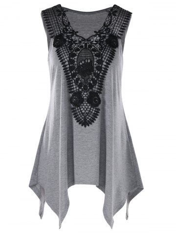 Plus Size Lace Trim Crescent Hem Tank Top - Heather Gray - 2xl