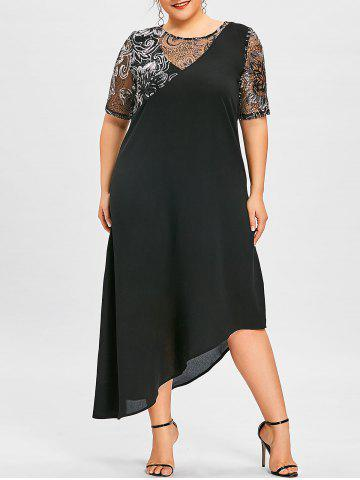 Latest Plus Size Sequined Asymmetric Flowing Dress