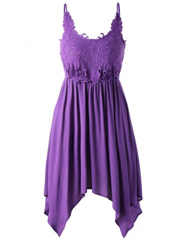 Trendy Plus Size Lace Trim Slip Dress