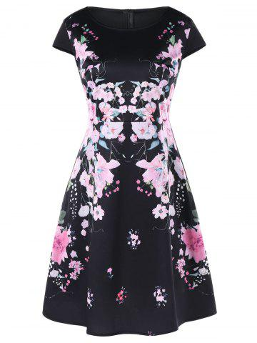 Store Flower Print Cap Sleeve Dress