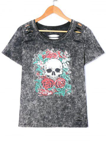 Unique Distressed Skull Print Washed Tee