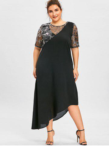 59229cbc969f Plus Size Maxi Dresses - Long Sleeve, Floral, White And Black Cheap ...