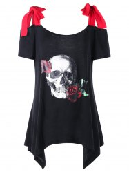 Plus Size Rose Skull Open Shoulder T-shirt -