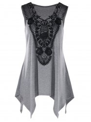 Plus Size Lace Trim Crescent Hem Tank Top -