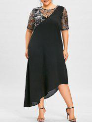 Plus Size Sequined Asymmetric Flowing Dress -