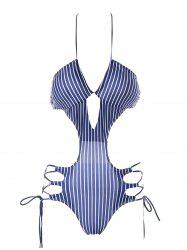 Cut Out Striped One Piece Swimwear -