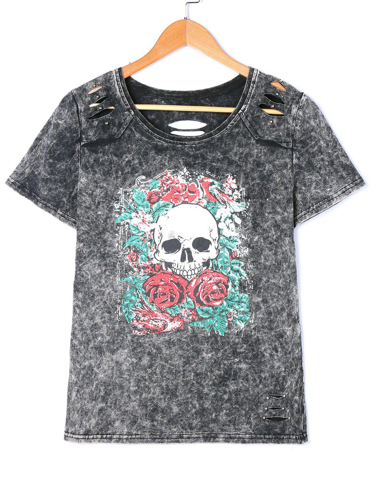 Fancy Distressed Skull Print Washed Tee