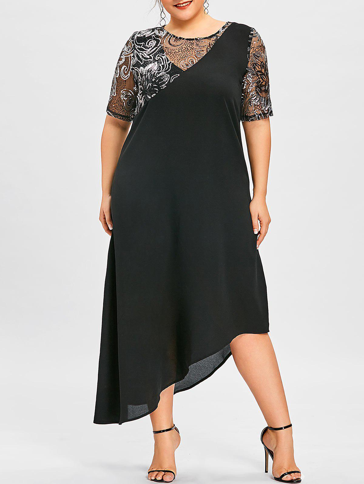 Discount Plus Size Sequined Asymmetric Flowing Dress