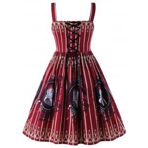 Plus Size Square Collar Lace Up Vintage Swing Dress -