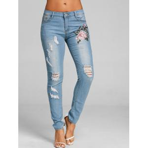 Embroidered Ripped Distressed Jeans -
