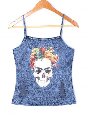 Distressed Skull Rose Tank Top