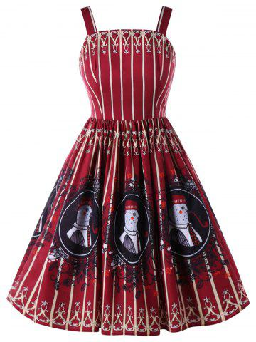 Outfits Plus Size Square Collar Lace Up Vintage Swing Dress