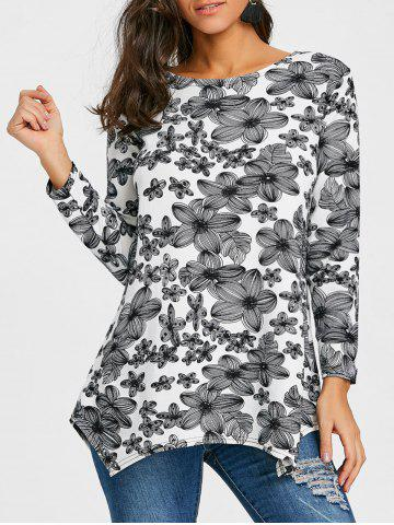 Fashion Flower Print Long Sleeve T-shirt