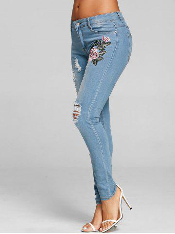 Shops Embroidered Ripped Distressed Jeans
