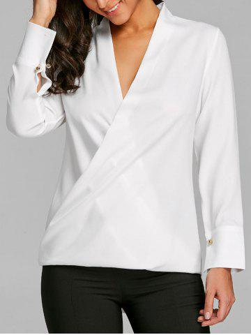 Cheap Plunge High Low Chiffon Blouse
