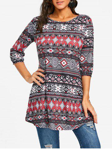 Fancy Argyle Ethnic Print Swing Tunic Tee