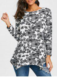 Flower Print Long Sleeve T-shirt -