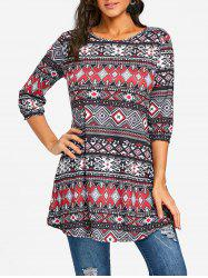 Argyle Ethnic Print Swing Tunic Tee -