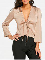 Plunging Silky Blouse -