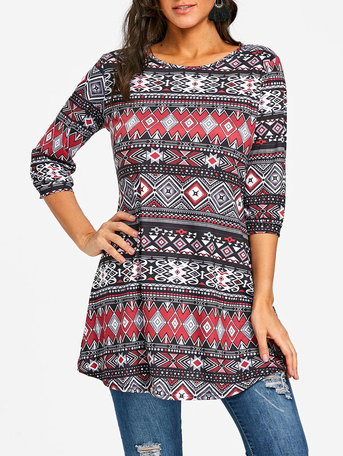 Hot Argyle Ethnic Print Swing Tunic Tee