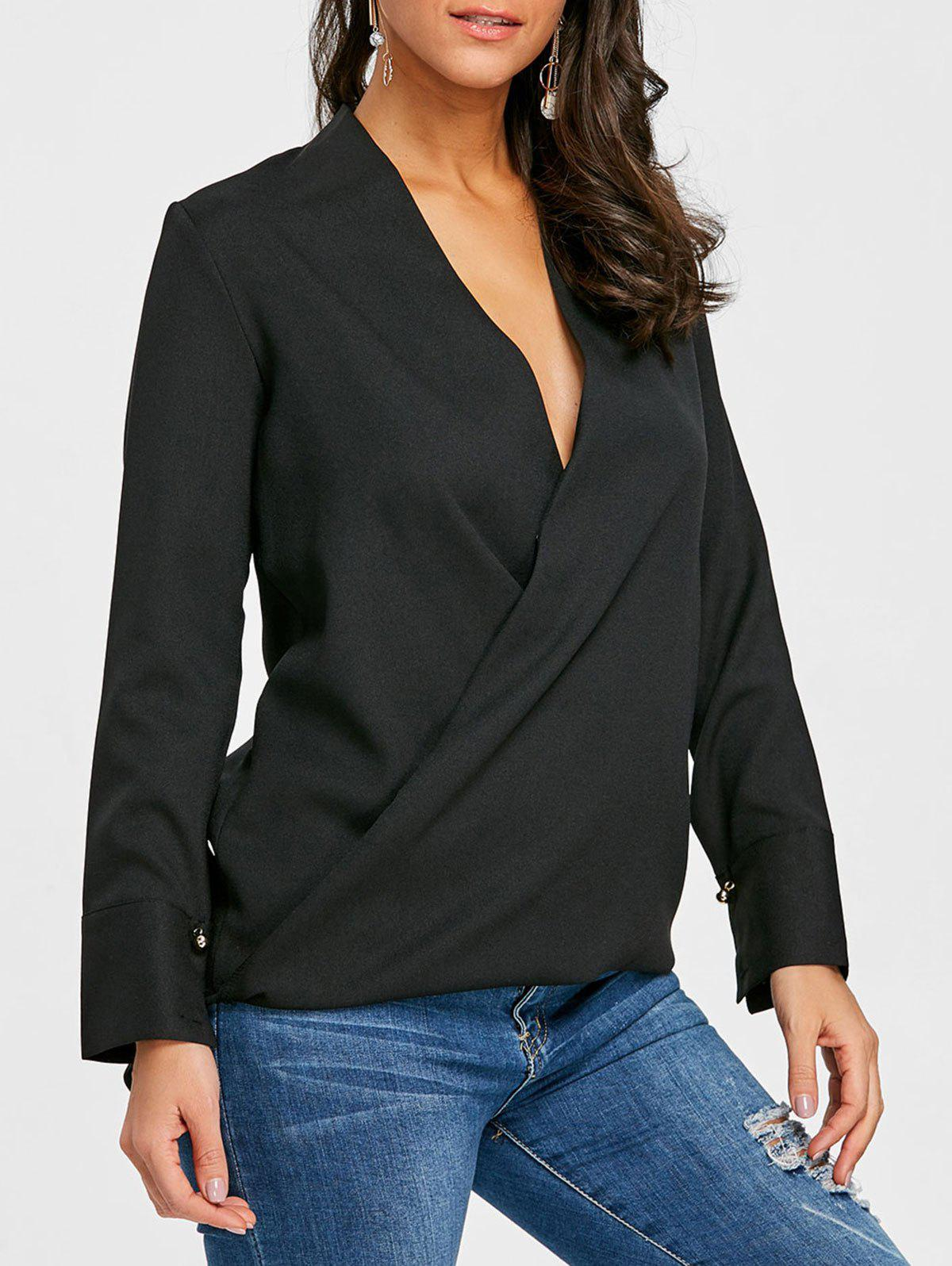Hot Plunge High Low Chiffon Blouse