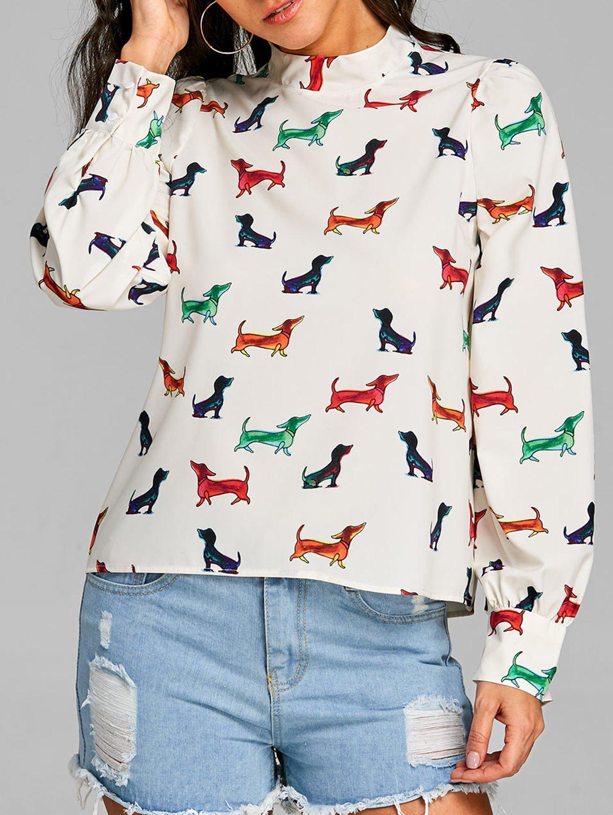 Store Dog Printed Long Sleeve Blouse